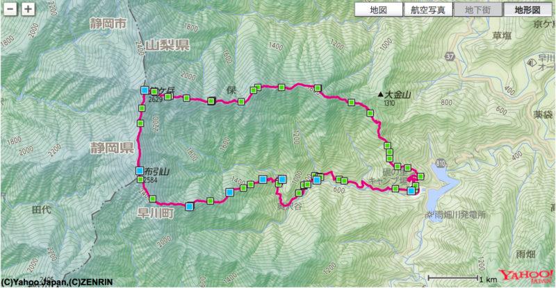 笊ヶ岳地図